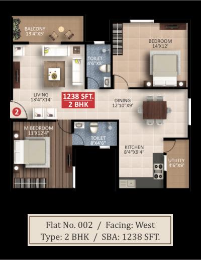splendor-lsr-floor-plan-2bhk-1238-sqft-west-facing