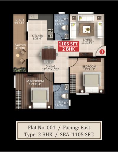Saritha-splendor-East-facing-2bhk-floor-plan