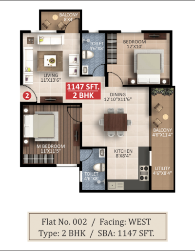 splendor-lsr-whitefield-2bhk-west-floor-plan